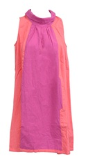 Orange Pink cotton Linen Tunic Dress S8/10
